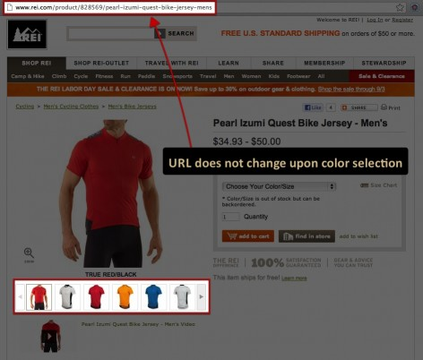 color and size selection on rei.com