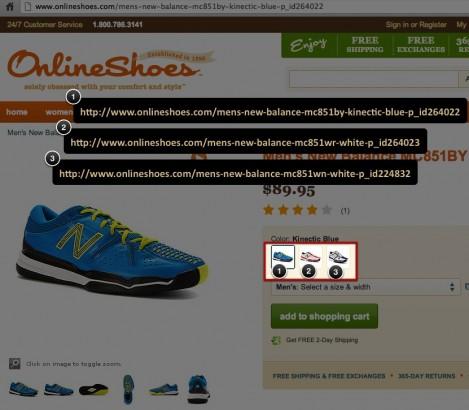 onlineshoes.com color variations