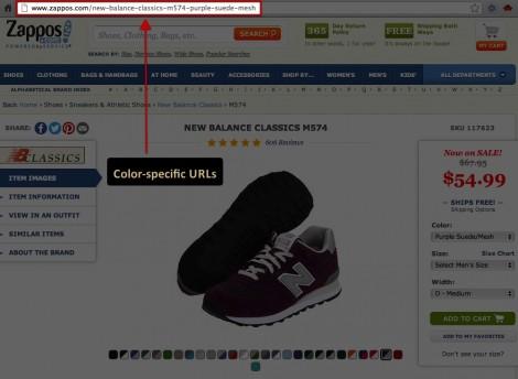 Color variations have unique URLs on zappos.com