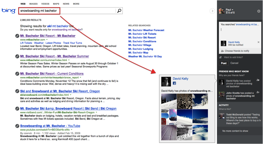 bing social search results