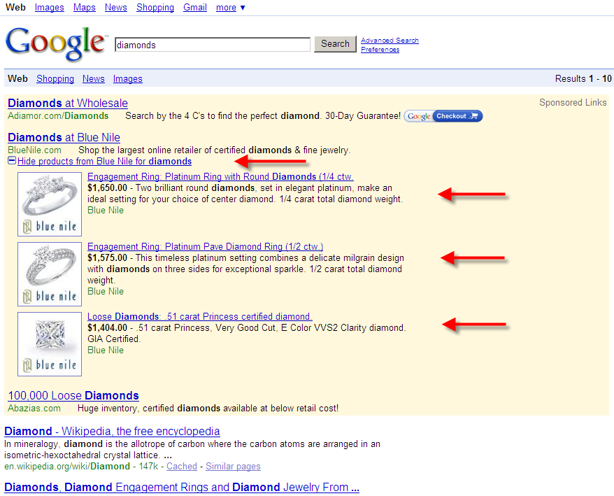 Google Diamonds Search Expanded