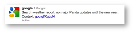 no google panda update for the holidays