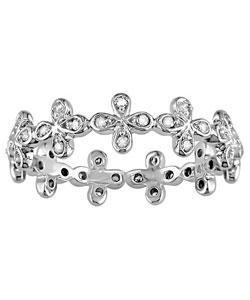 14k White Gold 1/5ct Diamond Eternity Flower Ring