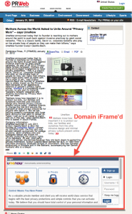 example of iframe from PRWeb